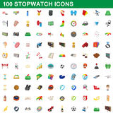 100 stopwatch icons set, cartoon style. 100 stopwatch icons set in cartoon style for any design vector illustration stock illustration