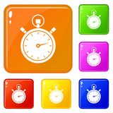 Stopwatch icons set vector color. Stopwatch icons set collection vector 6 color isolated on white background vector illustration