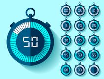 Stopwatch icons set in flat style from 0 to 60, timers on blue background. Sport speed clock. Vector design element for you busine. Ss project Stock Illustration