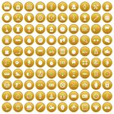 100 stopwatch icons set gold. 100 stopwatch icons set in gold circle isolated on white vector illustration Royalty Free Stock Images