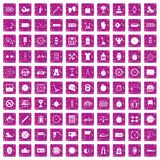100 stopwatch icons set grunge pink Royalty Free Stock Photography
