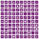 100 stopwatch icons set grunge purple. 100 stopwatch icons set in grunge style purple color isolated on white background vector illustration vector illustration