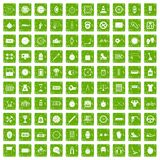100 stopwatch icons set grunge green Stock Photos
