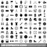 100 stopwatch icons set, simple style. 100 stopwatch icons set in simple style for any design vector illustration Stock Photo