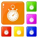 Stopwatch icons set vector color. Stopwatch icons set collection vector 6 color isolated on white background royalty free illustration