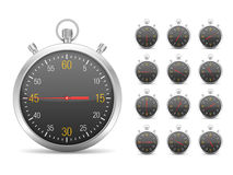Stopwatch. Illustration of stopwatch with different time vector illustration