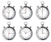 stopwatch Insieme degli orologi del cromo illustrazione vettoriale