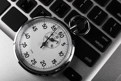 Stopwatch Keyboard Stock Photo