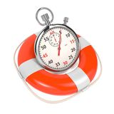StopWatch  in Lifebuoy on White Background. Royalty Free Stock Image