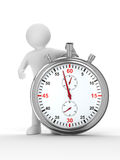 Stopwatch and man on white background Royalty Free Stock Photo