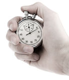 Stopwatch in a man& x27;s hand Stock Photos