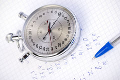 Stopwatch with measurement results Royalty Free Stock Images