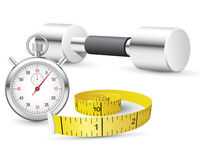 Stopwatch, measuring tape and dumbbells Royalty Free Stock Photography