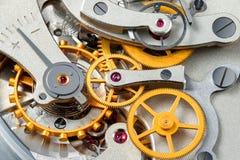 Stopwatch mechanism. Gear stopwatch mechanism. Macro view. Stack 43 photos stock photos