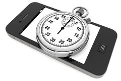 Stopwatch with Mobile Phone Stock Photography