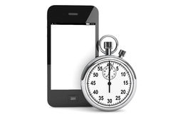Stopwatch with Mobile Phone Stock Photos