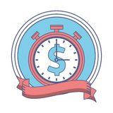 Stopwatch money symbol. In round icon vector illustration graphic design vector illustration