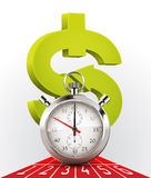 Stopwatch - money and time stock illustration