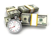Stopwatch- och dollarpackar. tid är pengarbegreppet Arkivfoto