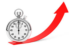 Stopwatch over red arrow Royalty Free Stock Image