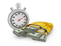 Stopwatch and  pack of dollar Stock Photo