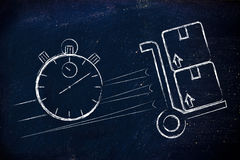 Stopwatch and parcels, concept of fast delivery. Fast delivery time: parcels and stopwatch illustration Stock Photos