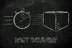 Stopwatch and parcels, concept of fast delivery. Fast delivery time: parcels and stopwatch illustration Stock Images