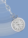 Stopwatch pendulum. Pendulum consisting of a stop watch on a chain with movement trace Stock Images