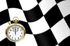 Stopwatch and racing flag Stock Photos