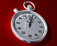 Stopwatch on a red background Stock Photo
