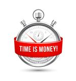 Stopwatch with Red Banner Stating Time is Money Royalty Free Stock Images