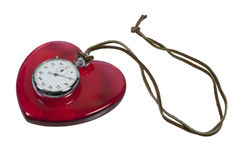 Stopwatch and Red Heart on leather cord Stock Photo