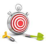 Stopwatch with red target and dart arrows. business strategy. Concept 3d render illustration Royalty Free Stock Photos