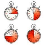 Stopwatch - Red Timers. Set on White. Stock Photography