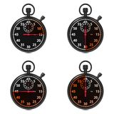 Stopwatch - Red Timers. Set on White. Stock Photo