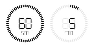 Stopwatch second minute countdown digital timer. Stopwatch digital countdown timer with minutes and seconds vector display. Isolated black on white background stock illustration