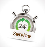 Stopwatch - service. Stopwatch - 24h help and service concept Royalty Free Stock Images