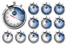 Stopwatch. Set of blue detailed timers Stock Image