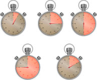 Stopwatch set with  sector. Ten and fifteen and thirty, watch icon, vector graphic illustration Royalty Free Stock Photography