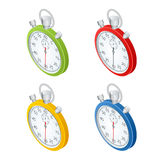 Stopwatch.  Set of  timers.  Time to work. Time is running out. Clock, Stopwatch soaring up. Vector 3d isometric Royalty Free Stock Photo