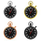 Stopwatch Set on White Background. Royalty Free Stock Photos