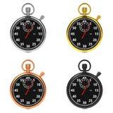 Stopwatch Set on White Background. Royalty Free Stock Photos