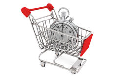 Stopwatch with Shopping Cart Royalty Free Stock Images