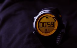 Stopwatch. Sport watch on a black background Stock Images