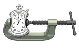 Stopwatch squeezed in a clamp Royalty Free Stock Images