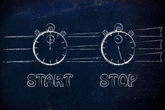 Stopwatch start and stop Stock Image