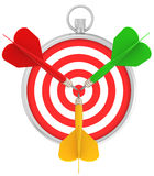 Stopwatch and target for darts with dart in the Royalty Free Stock Image