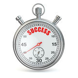 Stopwatch with text success on dial. Stock Photos