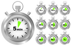 Stopwatch Timer. Collection of Stopwatches - Timer in Different Positions - vector Royalty Free Stock Image