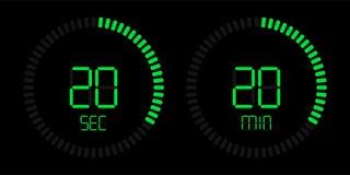 Stopwatch timer vector digital green countdown royalty free illustration